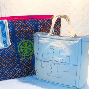 Tory Burch Authentic Leather Jessica Square Tote